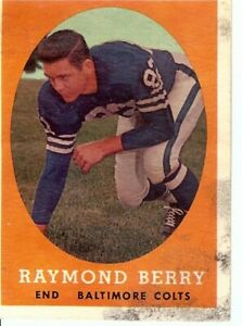 Raymond-Berry-1958-Topps-Vintage-Football-Card-Baltimore-Colts-Stain-120-Fair