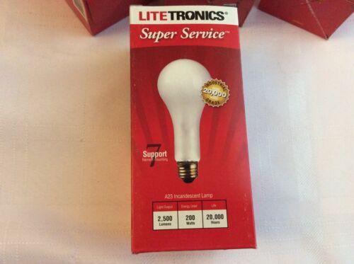 Litetronics L-181 200W//A23//120//FR Super Service Incadescent Lamp 4 Per Box
