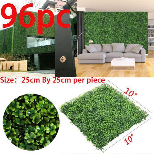 96PCS Artificial Boxwood Hedge Mat Panels Greenery Walls Garden Backyard 10x 10