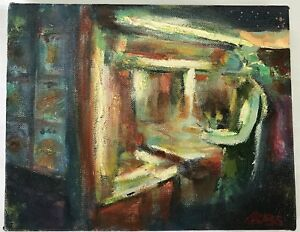 SCOTT-JACOBS-AMERICAN-20TH-C-STEAMY-LATE-NIGHT-OIL-ON-CANVAS