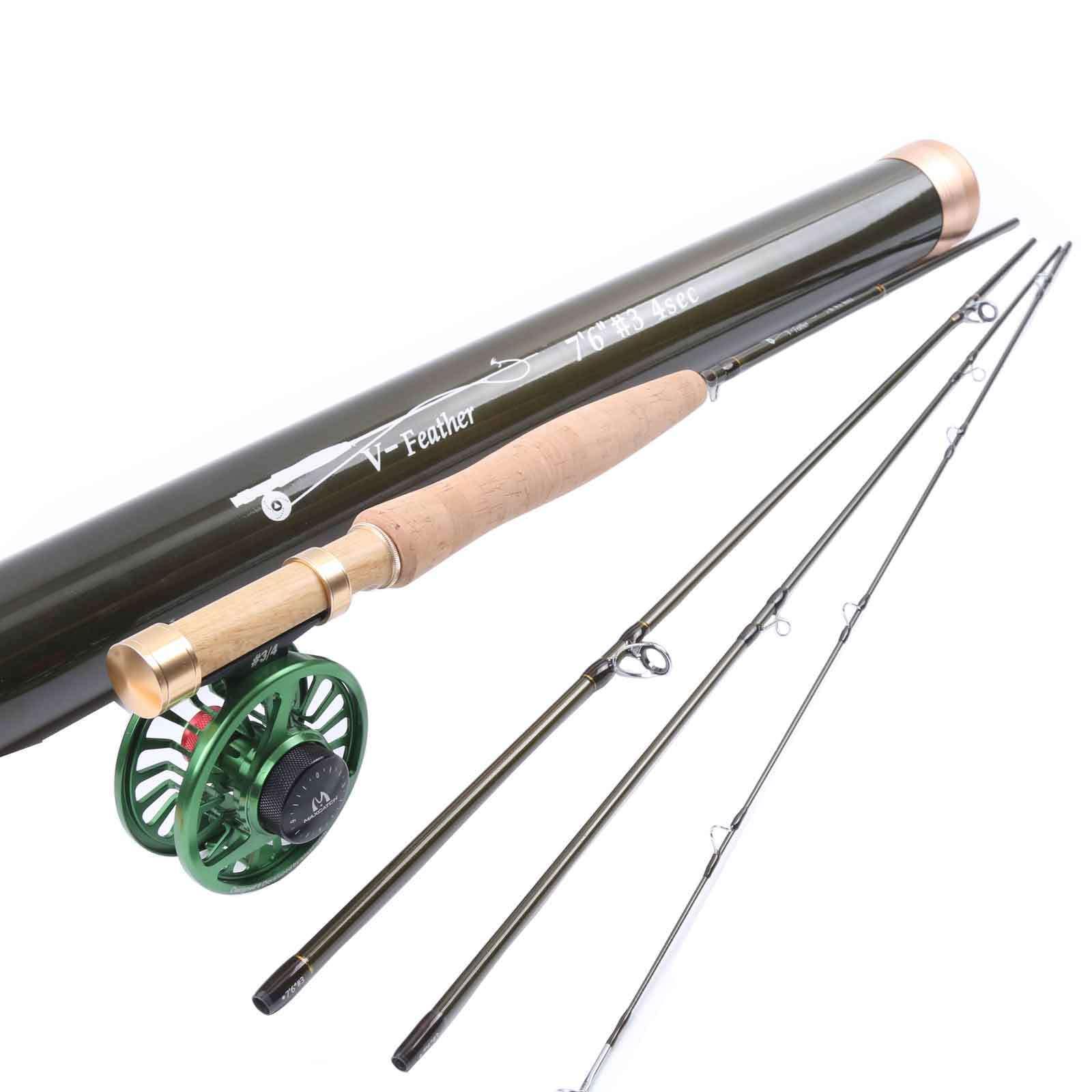 Maxcatch 3wt 7' 6 4sezione Fly Rod Media VELOCE VOLO Pesca rod&fly REEL