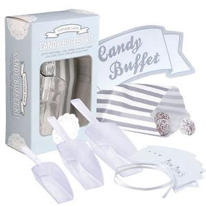 Candy Bar Set Sussigkeiten Schild Schaufel Papiertuten Vintage