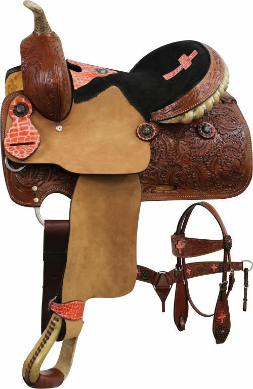 Double T Youth   Pony Saddle SET with Coral Alligator Cross 13  12  NEW  come to choose your own sports style