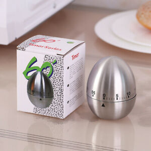 Kitchen Timer Stainless Steel Egg Shaped Mechanical Rotating Alarm Cooking Tool