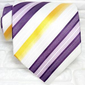 Cravatta-Uomo-viola-gialla-bianca-gialla-100-seta-Made-in-Italy-righe