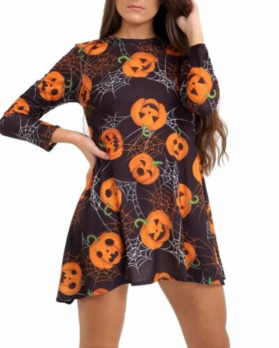 Womens Pumpkin Galaxy Bat Halloween Costume Ladies Smock Flared Swing Dress LOT