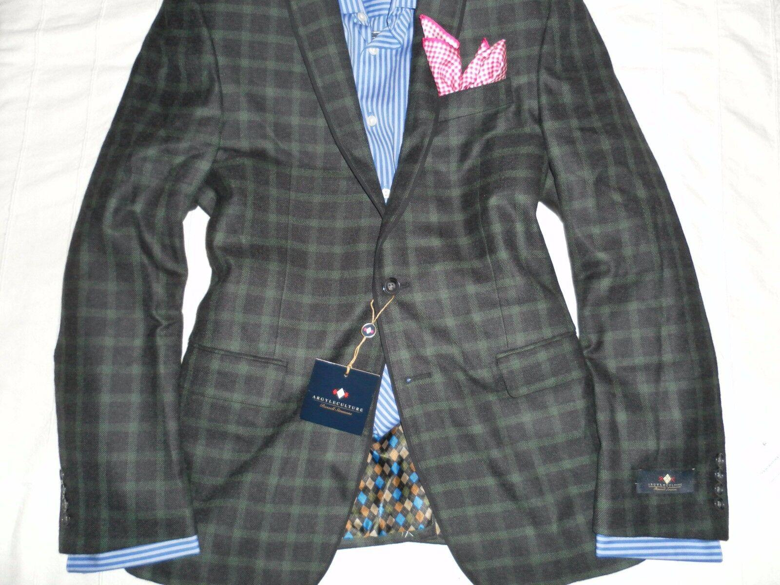 NWT ARGYLE CULTURE Men Charc.Grün Plaid Two Button Wool Blend Blazer- M- 38-40R