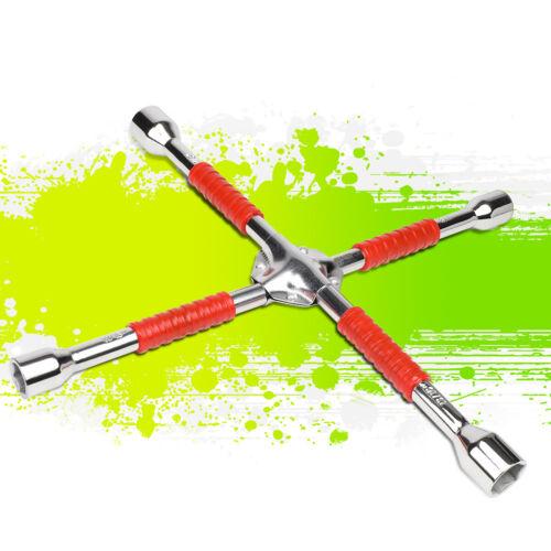 "16/"" Polished Chrome Vanadium Steel Rubberized Grip SAE 4-Way Lug Cross Wrench"