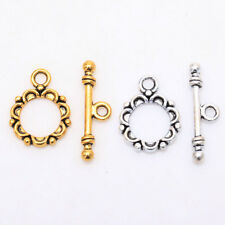 30 Sets Tibetan silver Lacework Circle Toggle Clasps Making Jewelry Findings DIY