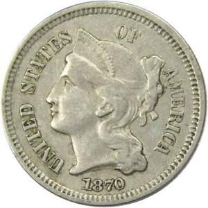 1870-Three-Cent-Piece-VF-Very-Fine-Nickel-3c-US-Type-Coin-Collectible