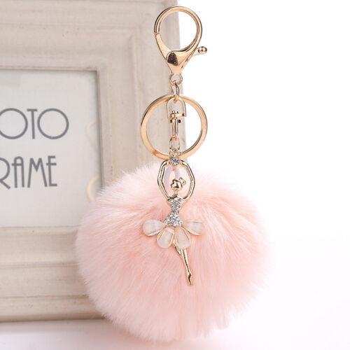 Ballet Dansant Fille Fourrure Ballon Trousseau  Sac Peluche Voiture Porte-clés