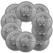 10x 1 oz Silber Maple Leaf 2018 - 5 Dollar Kanada Stempelglanz Silbermünze 999,9