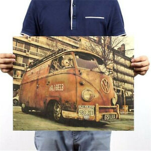 FD3192 Vintage Retro Old Kraft Paper Home Office Decorating Post Retro Bus 50CM\