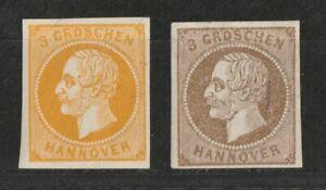 Hannover 1859 MER. n. 16 B * e 19 a * inutilizzato con piega 235,00 euro.
