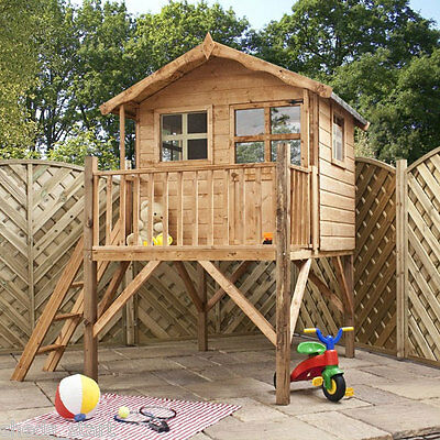Childrens Wooden Playhouse 7x5 Shiplap Tongue & Groove Kids Poppy Cottage Tower