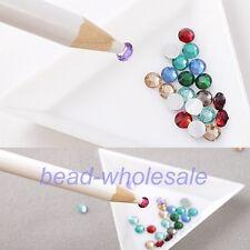 4pcs Gem Crystal Rhinestones Picker Pencil Nail Art Craft Tool Wax White Pen New