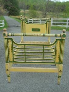 Unusual-Antique-Rope-Bed-Twin-Size-Great-Paint-Decorated-Virginia