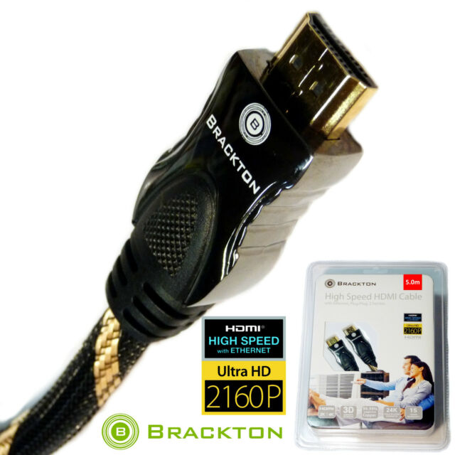 Brackton  5m HDMI Kabel mit Ethernet Ultra HD 3D, Metallstecker 99.99% Kupfer