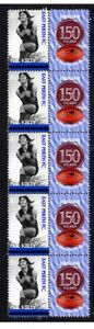 EAST-PERTH-WAFL-150th-FOOTY-STRIP-OF-10-VIGNETTE-STAMPS-KELLY