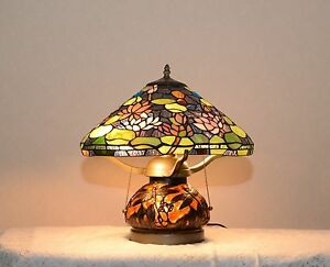 16 handcrafted stained glass dragonfly lotus water lily table lamp image is loading 16 034 handcrafted stained glass dragonfly lotus water mozeypictures Image collections