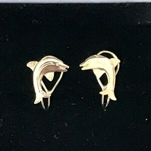 9ct Yellow Gold Clip On Dolphin Earrings