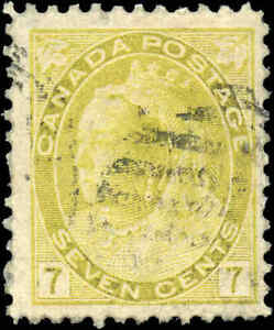 Used-Canada-1902-7c-F-Scott-81-Queen-Victoria-Numeral-Issue-Stamp