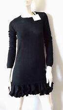 NEW RED VALENTINO 100% merino wool black RUFFLE HEM knit sweater designer dress