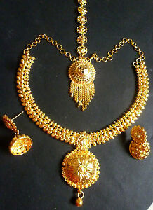 22K-Gold-Plated-8-039-039-Long-South-Indian-Wedding-Necklace-Jewelry-Earrings-Set-C