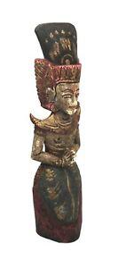 Vintage Authentic Indonesian Balinese Vishnu Garuda Hand Carved Wood Statue