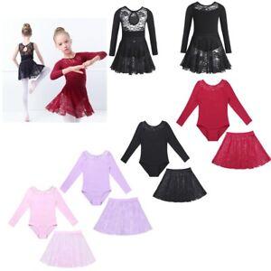 8818d90ae Lace Kids Girls Long Sleeve Ballet Gymnastics Leotard Skirt Tutu ...