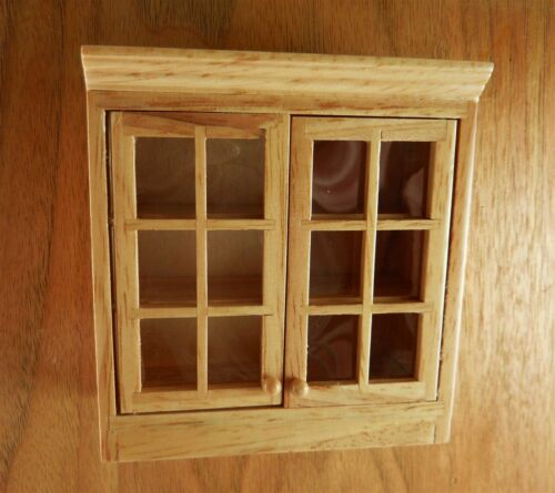 Dollhouse Miniature Oak Upper Kitchen Cabinet T4374 Faux Glass Doors