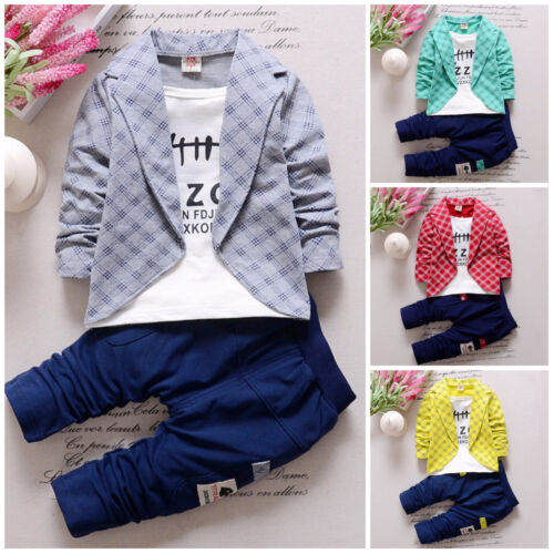 2pcs Kids Baby clothes baby clothes cotton top+pants party suit outfits cool