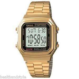 Casio-A178WGA-1A-Men-039-s-Gold-Tone-Stainless-Steel-Digital-Watch-with-Gift-Box