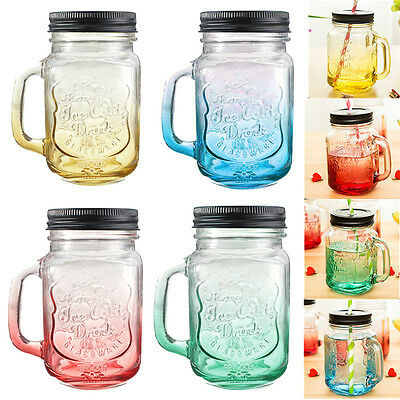 Fashional Vintage Mason Glass Drinking Jar 500ML Retro Vintage 17oz 4 Colors