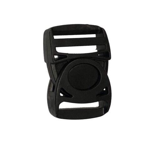 25mm x 55mm Black Adjuster Plastic Buckles Webbing Quick Release Bag Straps Clip