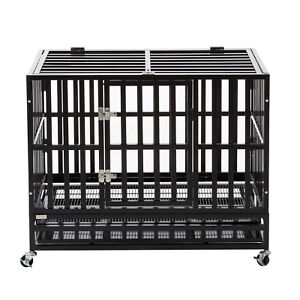 37-034-Heavy-Duty-Metal-Dog-Crate-Cage-Square-Tube-Pet-Kennel-Playpen-Wheels-amp-Tray