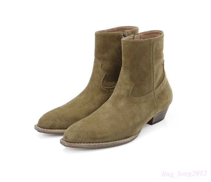 Men High Top Warm Ankle Boots Vogue Chelsea Side Zip Chunky Heel British shoes