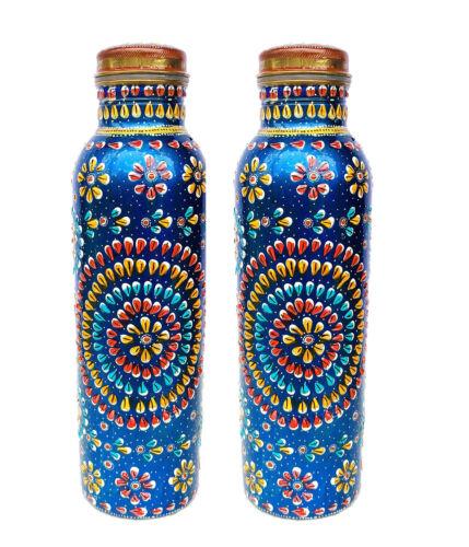 Cuivre bouteille d/'eau Ensemble Récipient Ayurveda santé Set Yoga peint à la main meenakar