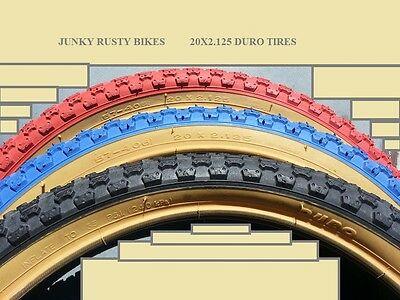 TWO DURO 20X2.125 BMX BICYCLE TIRES RED GUMWALLS  COMP 3 TYPE  /& 2 TUBES 2