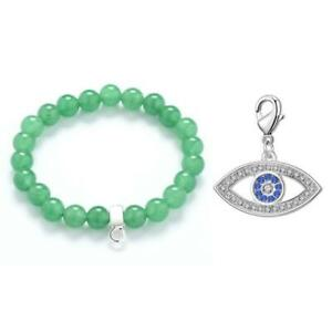 Evil Eye Green Aventurine Gemstone Charm Bracelet