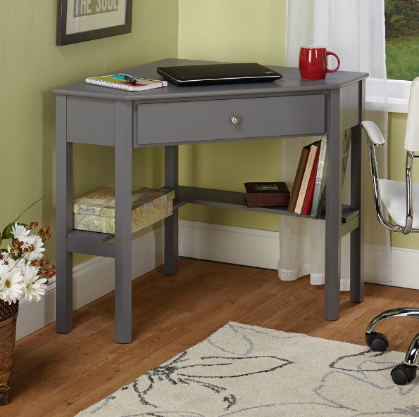 Small Corner Desk Laptop Computer Writing Home Office Bedroom Dorm Room Grey