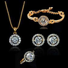 Chic 18K Rose Gold GP Crystal Earrings Necklace Bracelet Ring Set Sa05