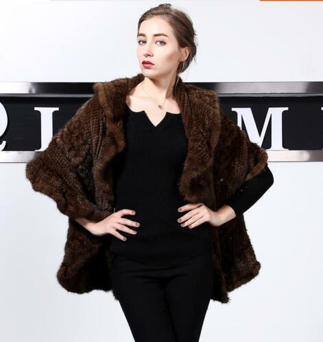 100% Real Genuine Knit Mink Fur Long Cape Stole Shawl Scarf Wrap Vintage Women's