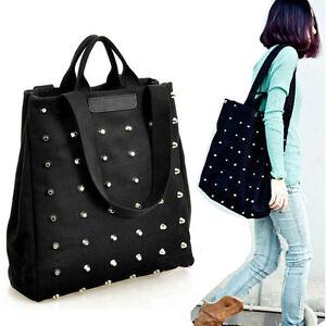 Fashion-Women-Ladies-Punk-Style-Rivets-Canvas-Handbag-Tote-Shoulder-Bag-Black