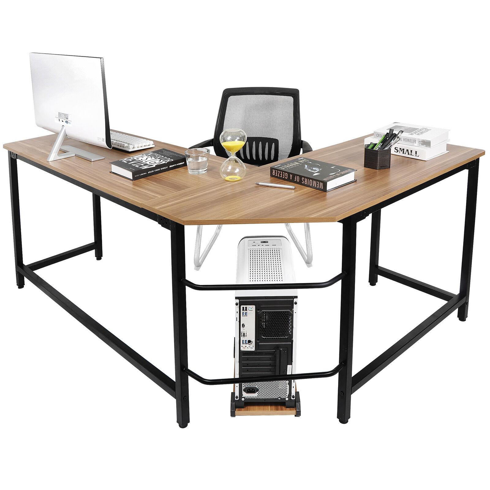 L Shaped Desk Office Computer Glass Tiendamia Com