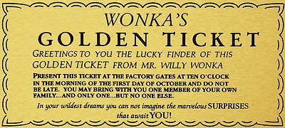 WILLY WONKA GOLDEN TICKET GOLD SIGN WALL ART charlie chocolate factory