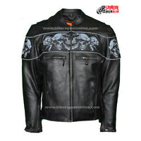 Men's Motorcycle Reflective Skulls Crossover Leather Jacket Scooter Jacket Black