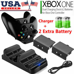 XBOX-ONE-Dual-Charging-Dock-Station-Controller-Charger-2-Rechargeable-Battery