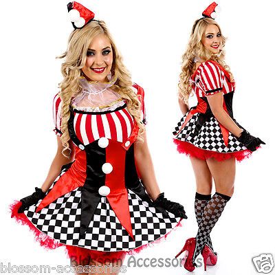 K6 Harlequin Circus Mime Cirque Clown Jester Fancy Dress Party Halloween Costume