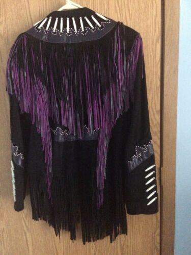 Ladies Used Suede Fringed Purple Slightly Large Fringe Black Jacket W zgxzwqr1